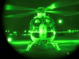 Helicopter through night-vision goggles